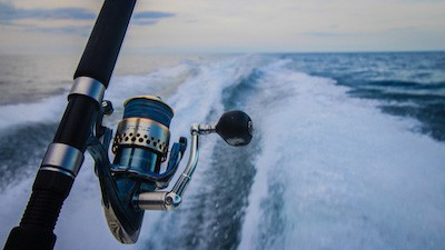 Photo of offshore reel attached to rod