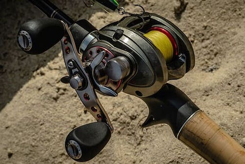 Photo of baitcaster attached to rod