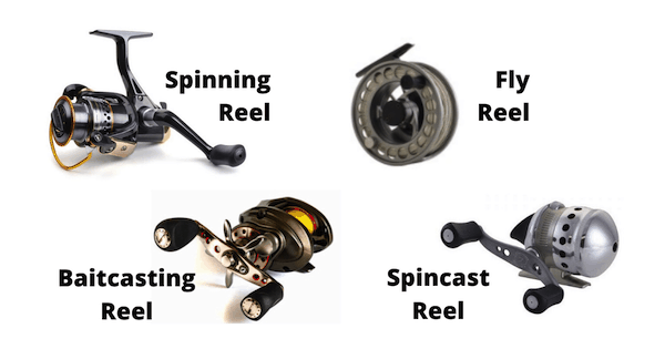 Picture showing 4 types of fishing reels with their name