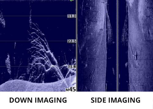 Photo of fish finder display comparing down imaging and side imaging next to each other