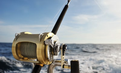 Photo of trolling reel attached to rod