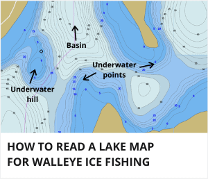 How to read a lake map for walleye ice fishing