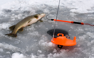 Tip up fishing for pike