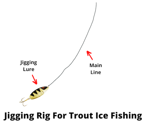 Jigging rig for trout ice fishing