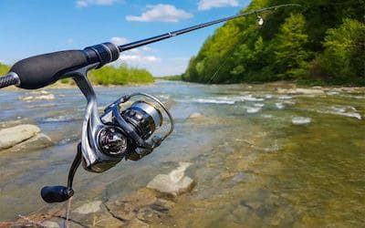 Photo of spinning reel in use