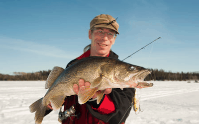 Where can you target walleye ice fishing